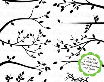 BACK TO SCHOOL Sale Branch Silhouettes Clipart Clip Art, Tree Branch Clip Art Clipart Vectors - Commercial and Personal Use