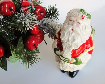 "Santa Figural Planter Vase Red White Green Ceramic Unmarked 7"" Tall"