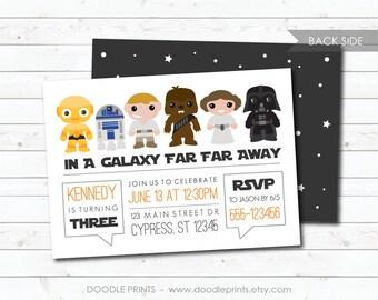 "Star Wars Birthday Invitation, Vader Chewbacca R2D2 C3PO Invitation, Custom Digital Printable Invitation Party, Galaxy Far Away 5x7"" 4x6"""