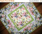 Sale Christmas in July Floral Table Topper, Spring, Summer, quilted table runner, fabric Wilmington Prints, handmade