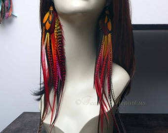 Long Feather Earrings Festival Accessory Red Orange Yellow Feathers Fire Earrings Dangle Earrings Handmade with Love in the USA READY2SHIP