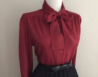 Vintage Womens Blouse With Bow / Red & Black Striped Button Down blouse / Long Sleeve Shirt Top / Pussy Bow Blouse / Mad Men Secretary Shirt