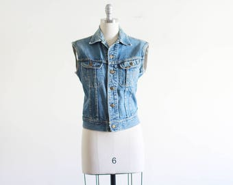 Vintage Denim Lee Vest / Made in the USA / Denim Vest / Minimal Boho Hippie S