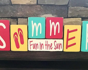 Summer wood blocks--SUMMER fun in the sun