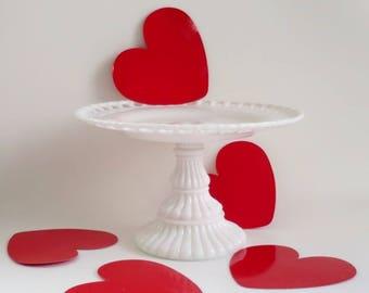 Vintage Milk Glass Lattice Edge Cake Stand, Pedestal Cake Stand, Vintage Cake Pedestal Plate, Cup Cake Stand, Bakery Wedding Pastry Display