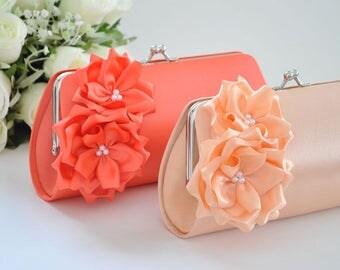 Peach / Living Coral - Bridesmaid Clutch / Bridal clutch / Wedding clutch / Prom clutch / Custom clutch
