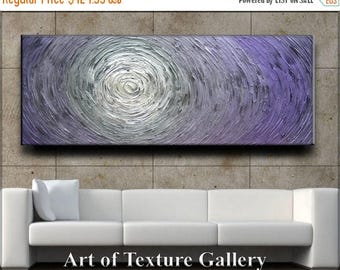 SALE 70 x 28 Custom Original Abstract Heavy Texture Purple White Silver Gray Carved Oil Painting by Je Hlobik