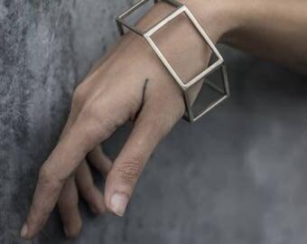 Silver Geometric Bangle - Minimal Cuff - Silver Cuff - Architectural Jewelry Design