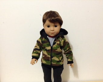 "18"" doll hoodie in camo print"