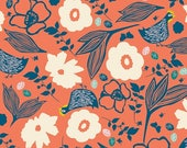 40% Off Sale - Pecking Hens in Coral - GARDEN ROOST - Blend Fabrics - By the Yard