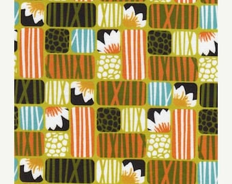SALE 10% Off - Lotus in Grass - Across the Pond - Organic Cotton Fabric by Cloud9 -  by Michelle Engel Bencsko- By the Yard