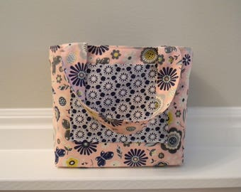 LDS Scripture Tote or Scripture Bag in Pink, Gray and Navy Blue Floral Print