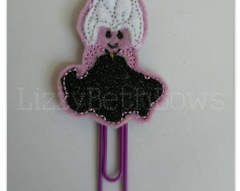 Planner clip, bookmark, planner feltie clip, felt bookmark, sea witch feltie clip, purple female octopus, ursula inspired clip