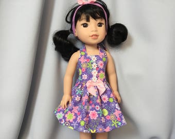 14.5 Inch Doll Clothes  Colorful Halter Summer Dress with Headband for dolls like Wellie Wishers