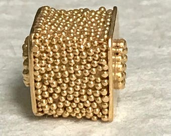 1 Large Gold Vermeil Bead - Carpet Granulated Cube Bead - 10.25mm - Square Focal Points - Oakhill Silver Supply S25