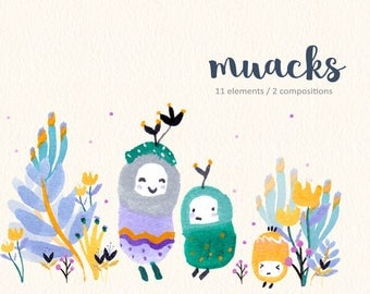 Watercolor Monsters Clipart, Cute Monsters, Kawaii Clipart, Flower, Grumpy Cute, Ugly Cute, Cute Party, Baby Shower, Kids Clipart