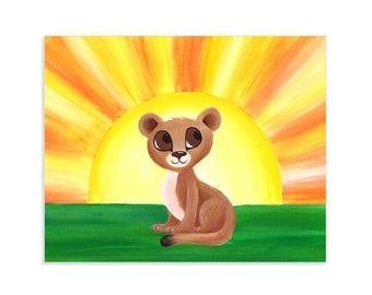 Lion Cub Nursery Art Print from Original Painting