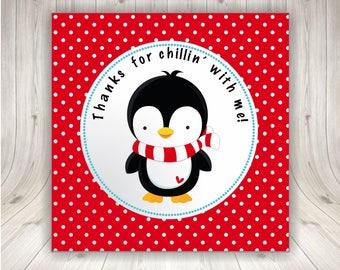 penguin favor tag - party circle label sticker - Printable - DIY