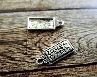 Word Charms Quote Charms Tag Charms LAUGH OFTEN Charms Inspirational Charms Antiqued Silver Charms Jewelry Tags 4 pieces