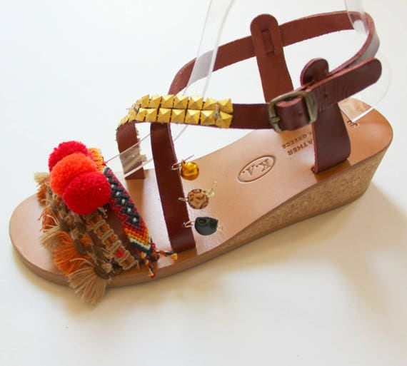 SALE size 39- US 8-8.5 Greek sandals, leather sandals, platform sandals  women's sandals sandales compensees