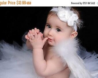 12% off wedding headband, baptism headband, christening headband Baby headband, newborn headband,  and photography prop WHITE Chiffon Rosie