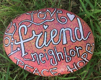 """ROCK Custom Hand painted Rock Painted special for you about 8"""" wide HEAVY"""