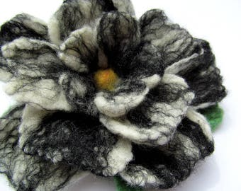 Wet felted flower pin, white and black petals