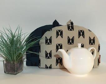 """Teapot Cozy - """"Hip French Bulldog"""", Linen Cotton Tea Cozy,"""
