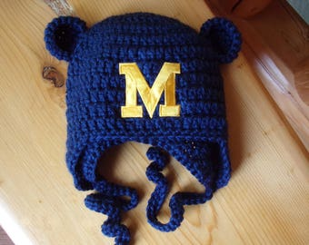 Michigan Baby hat for Newborn to 18 months- Univ of Michigan team colors