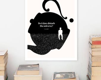 T. S. ELIOT Literary Art Print, Quote Poster, Minimalist Illustration, Large Wall Art Quote Prints, Book Lover Gift for Her