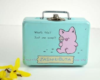 Vintage Sanrio Zashikibuta Metal Box 1980s Japan Animation