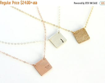 SALE - Square Initial Necklace, Monogram Necklace, Gold Silver Rose Gold Square Plate Necklace, Personalized Couples Jewelry, Teen BFF Neckl