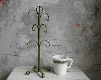 Vintage Mug Tree , Retro Countertop Mug Rack , Metal Olive Green Mug Stand , Six Cup Storage Rack , Kitchen Mug Display Stand