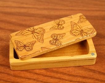 "Butterfly pattern Stash Box, 5"" x 2"" x 1"", Pattern ST7, Solid Cherry, Rare Earth Magnets, Stash Tums Box, Paul Szewc, Masterpiece Laser"