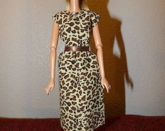 Very Stylish Leopard print dress in brown & tan for Fashion Dolls - ed1015