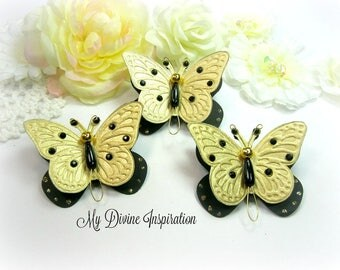 Black and Gold Handmade Paper Embellishments, Paper Butterfly for Scrapbooking Layouts, Cards, Mini Albums Tags and Paper Crafts