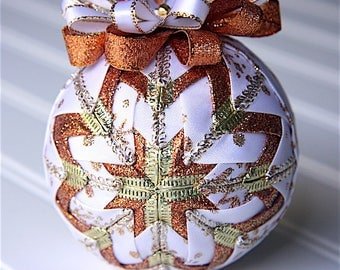 Quilted Christmas Ornament Ball/White, Copper and Gold - Winter's Wonder