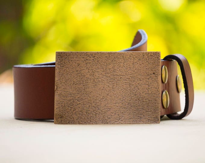 "Woodgrain 2.0"" Bronze Belt Buckle"