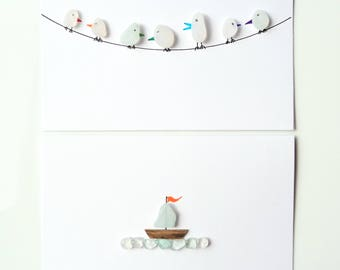 Seaham Sea Glass gift cards  - Birds on a line and Sailboat (E1740) - from Seaham beach,  UK