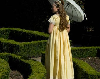 Custom Regency Drop Front Gown in silk