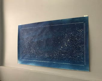 Large Cyanotype Star Map Hand Printed Unique Art Piece