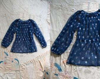 Vintage Handmade Sparkly Silver Star Sheer Navy Blouse, Long Sleeved, Women's Retro, Size Medium, Metallic Costume