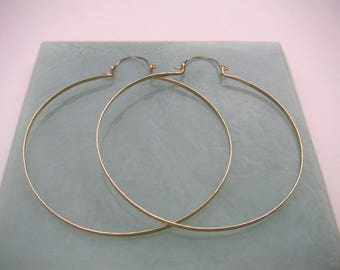 """Big 3"""" Gold Hoops Ready to Ship Extra Large Hammered Gold Hinged Hoops Gold Statement Earring Shoulder Duster Wire Jewelry Tribal Jewelry"""