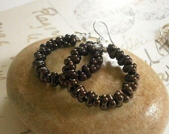 Dark Brown Beaded Silver Hoop Dangles Circle Earrings Bronze Farfalle Bead Earrings Texture Earring Hoops with Beads Tribal Jewelry