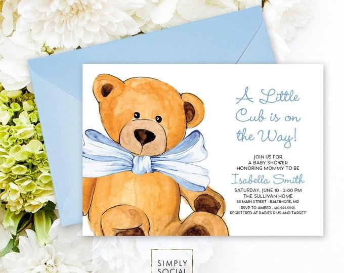 Blue Teddy Bear Baby Shower Invitation - It's a Boy Watercolor Elephant Modern Baby Shower Blue Little Cub Printable Baby Boy
