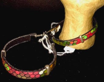 Multicolored Scale Covered Leather Bracelets