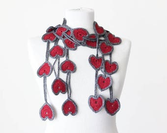 Etsy Gift idea, Valentines day gift for her, Heart crochet scarf, Gift for women, Saint valentine gifts, Gift for girlfriend, Esty gift her