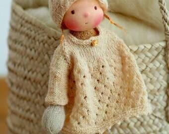 """Knitted doll Medea 14"""", Waldorf doll, rag doll, handmade doll, soft doll, Steiner doll, OOAK doll"""