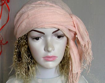Pink Wrap Headband Bandana Tichel Snood Women Head Scarf Covering Scarf apron Bohemian Hippie Headband Hair Wrap Accessories Hair Bands