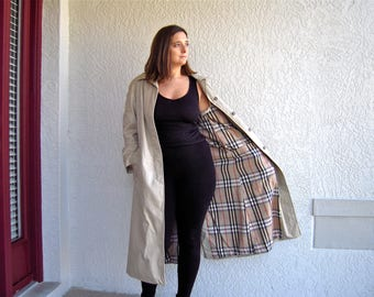 Vintage Trench Coat By Utex 1980s Cyclone Rain Coat Plaid Lining 80s Duster